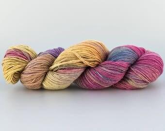 Laine Tricotcolor fil argent lurex arc en ciel tricot crochet handdyedwool teinture wool knit tricotcolor  fourniture créative multicolore