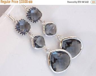 SALE Gray Earrings, Grey, Charcoal, Glass Earrings, Silver, Long, Wedding Jewelry, Bridesmaid Earrings, Bridesmaid Jewelry, Bridesmaid Gifts
