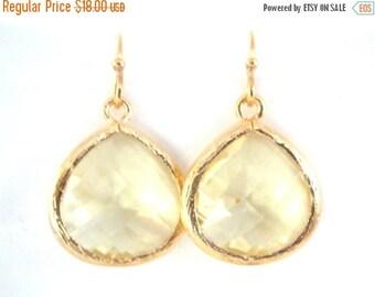 SALE Gold Yellow Earrings, Lemon Earrings, Soft Yellow, Citrine, Wedding Jewelry, Bridesmaid Earrings, Bridal Earrings Jewelry, Bridesmaid G