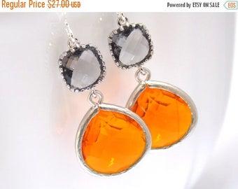 SALE Orange Earrings, Gray Earrings, Grey Earrings, Tangerine, Carnelian, Silver, Glass Earrings, Bridesmaid Earrings, Bridesmaid Gifts