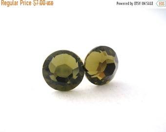 SALE Stud Earrings, Swarovski Crystal, Khaki Earrings, Crystal Earrings, Olive Earrings, Green Earrings, Post Earrings, Bridesmaid Gifts