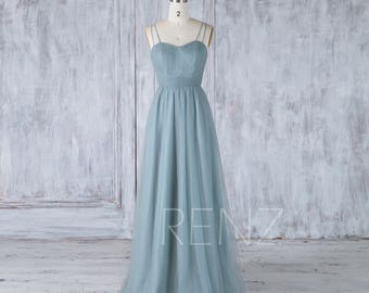 Bridesmaid Dress Dusty Blue Tulle Wedding Dress,Criss Cross Spaghetti Straps Maxi Dress,Sweetheart Ruched Long Prom Dress Full Length(LS321)