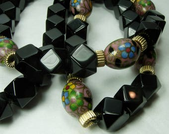 70s Onyx Cloisonne Enamel Necklace Large 11mm Onyx Beads 29 Inches 158 Grams