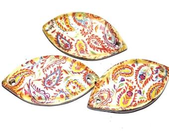 1 Ceramic Bracelet Bar Floral Handmade Stoneware Pottery Paisley