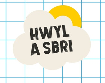 Welsh Text Hwyl a Sbri Blue Yellow Cloud Digital Art Print A4