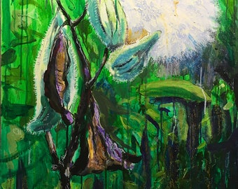 "Original Acrylic Expressionist Painting 24x30 ""Gone to Seed"""