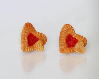 Jam Filled Cookie Stud Earrings -Heart Cookie Earrings -Food Earrings- Gift for Her -Valentine gift -Love gift -Jelly Filled Cookie Earrings