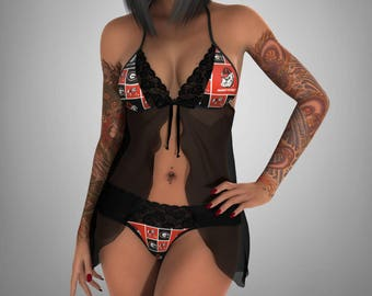 Georgia Bulldogs lace teddy - sheer black negligee - sexy lace g string lingerie