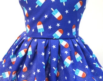 Red White and Blue Popsicle, Sleeveless Dress for your 18 Inch Doll