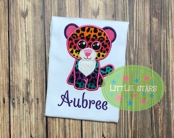 Beanie Boo Dotty Leopard Birthday Shirt- Embroidered and Personalized Shirt - You choose Number for Shirt