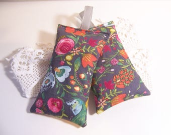 Set of two hanging lavender sachets in a beautiful flower fabric , sachet for your drawers or your bathroom . sleep aid or small gift.