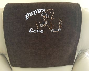 Recliner Cover, Chair Headrest, Furniture Protector, Puppy Love Outline Upholstery, Embroidered Design, Brownie Br, 14x30, Gold Thread