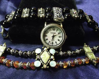 Kessaris Woman's Watch with 2 Bands **Crystal & Stone** B006