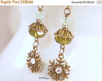 CIJ SALE Snowflake Earrings, Winter Earrings, Snowflake Crystal Dangle Pierced Or Clip-on Earrings, Bronze Handmade Earrings, CKDesignsUS