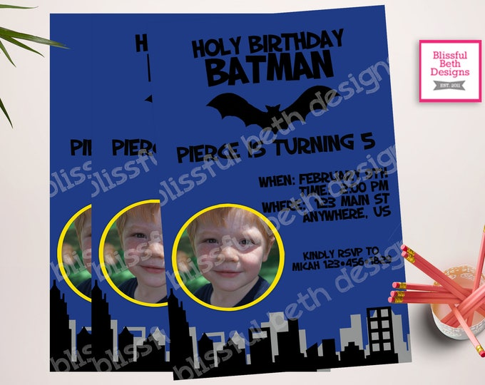 PERSONALIZED BATMAN INVITATION Personalized Blue Batman Printable Birthday Invitation