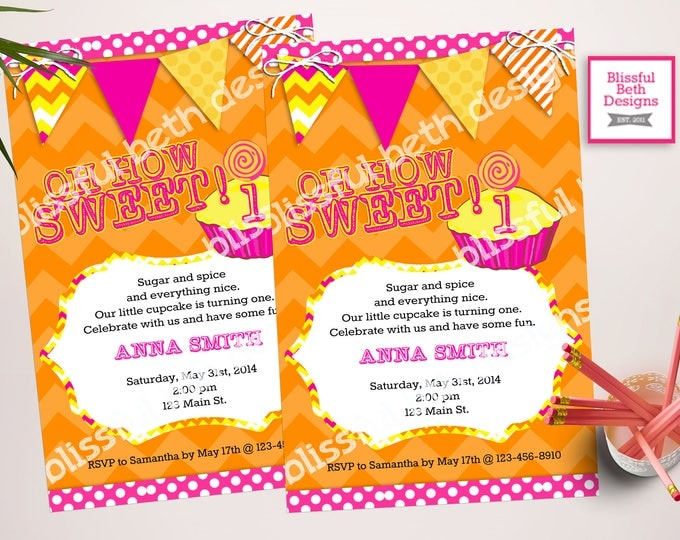 BIRTHDAY CUPCAKE INVITATION Modern Cupcake Birthday Invitation, Cupcake Invitation, Orange and Pink Birthday Invitation, Cupcake Invite