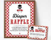BabyQ Diaper Raffle Cards and Sign, BBQ Baby Shower Diaper Raffle Insert & Sign, Baby Q Games, DIY Printable Pdf File, Couples BBQ
