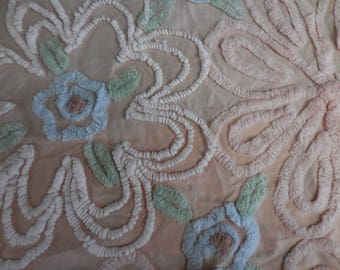 """PINKY Beige with BLUE, Pink, Green and White Chenille and Needletuft FLOWERS Vintage Chenille Bedspread Fabric  - 16"""" X 26"""" - #2 - Pretty!!"""