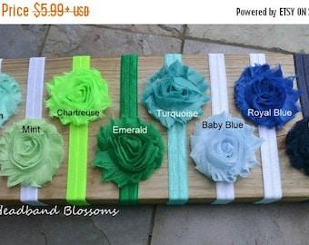 SALE U Pick Colors - Shabby Frayed Chiffon Flower on Shimmery Elastic Headband - Newborn Baby Girl - Seafoam Emerald Green Navy Blue Turquoi