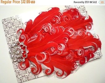 SALE SHOP BEST Seller - Stunning Rhinestone Red White Curled Goose Feathers on White Headband - Photo Prop - Newborn Baby Toddler - Christma