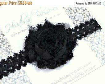 SALE BLACK Shabby Chiffon Flower Lace Headband - Photo Prop - Newborn Baby Toddler Girls - Lace Wedding Halloween