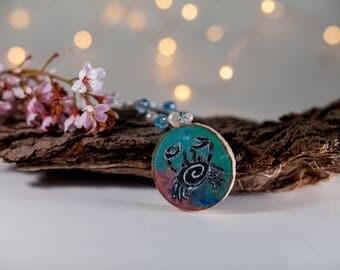 Cancer Astrology necklace-zodiac jewelry- wood jewelry-moon child necklace