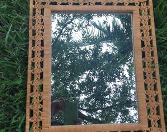 HOT PRETZELS / Unique Twisted Rattan Rectangular Mirror / Bohemian Vibe / Casual Chic