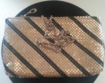 On Sale Vintage Gold & Black Metal Mesh Clutch Purse ** Mad Men Mod Mid Century Modern Collectible Handbag ** Made In Hong Kong **
