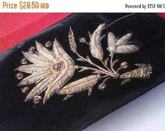 Now On Sale Black Velvet Clutch Purse - 1940's Art Deco Beaded Handbag