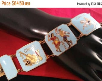 Now On Sale Vintage Blue Red White Enamel Chile Bracelet, Spanish Dancers Music Guitar Horse Bull Riding Jewelry