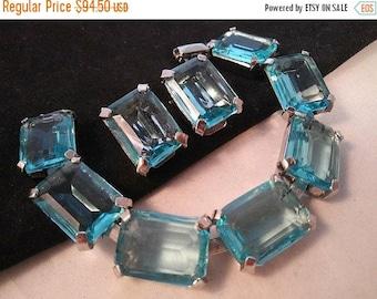 ON SALE JUDY Lee Signed Vintage Aqua Blue Rhinestone Bracelet Earring Set - 1940's 1950's Art Deco Jewelry - Stunning Hard To Find Demi