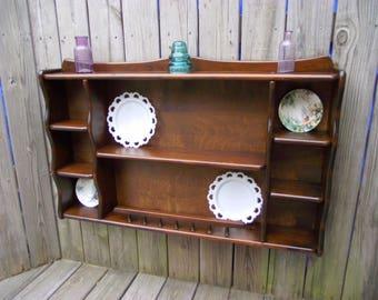 Wood Teacup Saucer Plate Shelf Curio Wall Tiered Display - Kitchen Dining Room - Knick Knack Shelf