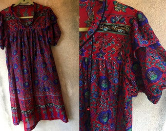 Red Paisley Print PUFFED SLEEVE Sheer See Through Bohemian Hippie Loose Dress Large