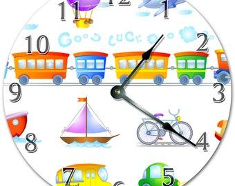 "10.5"" TRANSPORTATION Cartoon Clock - Kids Clock - Living Room Clock - Large 10.5"" Wall Clock - Home Décor Clock - 4509"