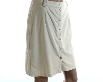 Vintage 80s Hirsch Cream Front Popper Mini Skirt UK 12 US 10