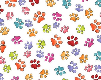 20 % off thru 7/4 HAPPY CATS Loralie Designs Fabric  by the half yard tossed tossed multi-color paw prints on white 24414-x