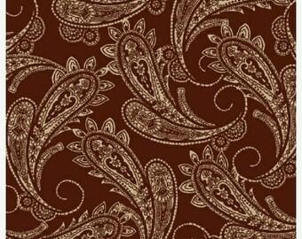 20% off thru 2/22 RANCH HANDS western COWBOYS brown bandana cotton print by the yard Windham Cotton Fabric 42580-3