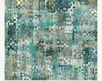 20% off thru 2/22 CITY SCENE- by the yard Northcott 21875-64 Urban Oasis Aqua Watercolor square dots  texture cotton quilt fabric