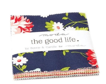 "15% off thru Mar.19th Moda Charm pack THE GOOD LIFE from  Bonnie & Camille 42 5"" squares cotton fabric floral 55150Pp flowers navy red aqua"