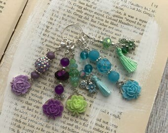 The Garden Collection Beaded Charm Dangle, Spine Charm, Planner Keychain, Purse Charm