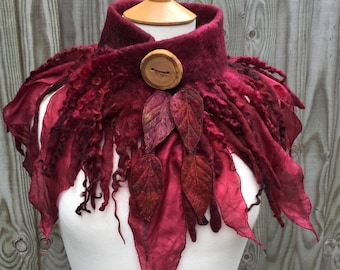 Dragons Blood Red cowl-Forest cowl- scarf-Woodland Felted Cowl -felted scarf-colourful scarf --woodland scarf- bohoscarf- red scarf- goth