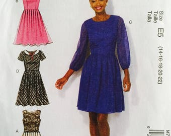 McCall's M7083, Size 14-16-18-20-22, Misses' Dresses Pattern, UNCUT, Party Dress, Fitted, Lined Bodice, Fun, Cap Sleeves, Sleeves