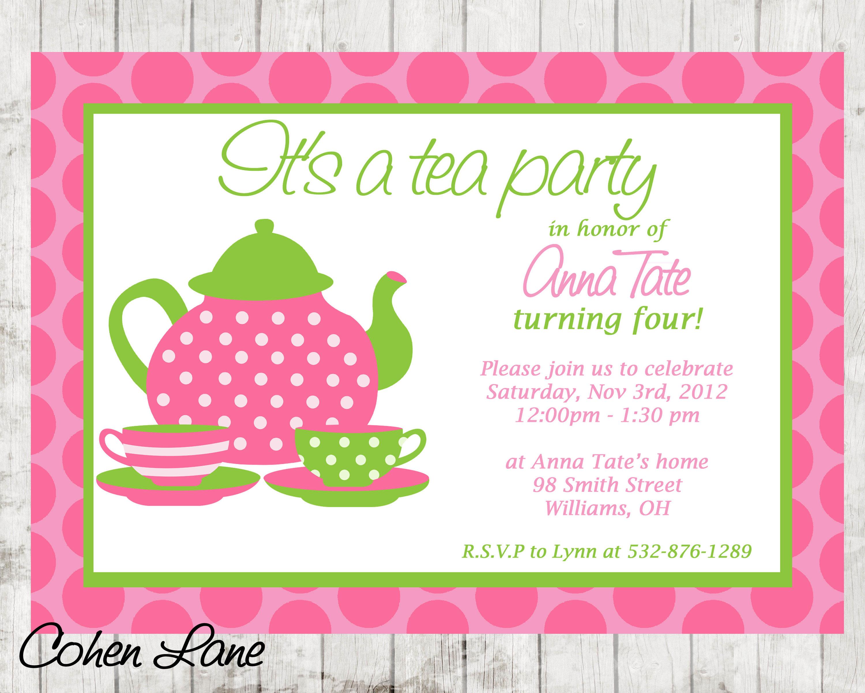 Tea Party Invite Tea Party Birthday Invitation Tea Party