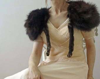 50s Brown Fox Fur Stole with legs  One Size