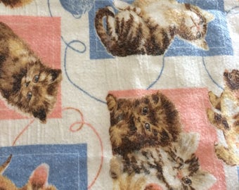Kittens Fleece Blanket Queen Bedspread Throw Vintage Fabric Supply Pink Blue White Cats Pattern
