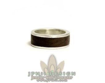 Silver or Gold Walnut Custom Inlay Wedding Band Ring