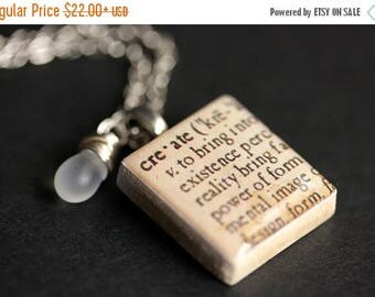 BACK to SCHOOL SALE Create Necklace Dictionary Quote Necklace. Scrabble Tile Necklace with Glass Teardrop. Scrabble Pendant. Handmade Jewelr