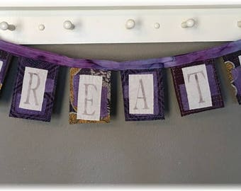 Whimsical Kantha Artsy Banner / Prayer Flag  CREATE /Purple