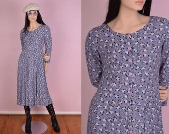 90s Blue Button Down Floral Print Dress/ Small/ 1990s/ Long Sleeve/ Maxi