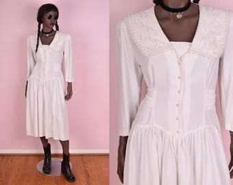 80s Ivory Button Down Dress/ US 7/ 1980s/ Lace Collar